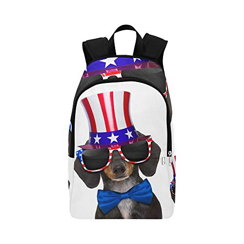 Dachshund Sausage Dog Wearing Sunglasses USA Casual Daypack Travel Bag College School Backpack for Mens and Women