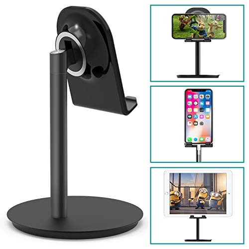 Klearlook Cell Phone Stand, Adjustable Swivel Desk Stand Holder Compatible for iPhone Galaxy Phone Tablet Smartphone Stand (Black)