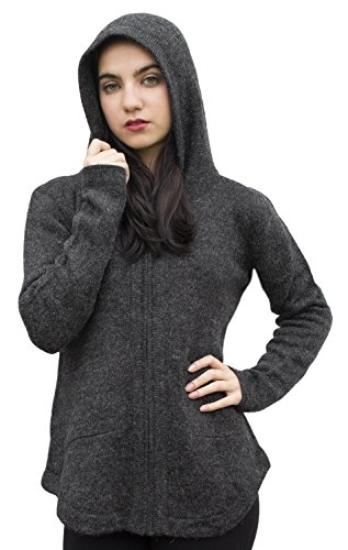 Womens Alpaca Wool Hooded Shaped Jacket Sweater Coat (S, Charcoal (Alpaca Wool Sweater)