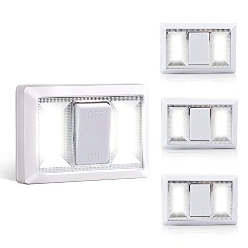 VIBELITE Battery Operated COB Switch Lights, Super Bright Cordless Light Switch, Easy Install for Cabinet, Shelf, Closet, Bathrooms,Basements, Parking (4 Pack)