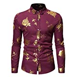 NUWFOR Fashion Men's Long Sleeve Painting Large Size Casual Top Blouse Shirts(Red,M US Chest:40.16''