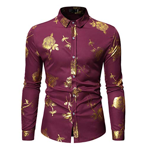 NUWFOR Fashion Men's Long Sleeve Painting Large Size Casual Top Blouse Shirts(Red,XL US Chest:48.82'' by NUWFOR (Image #7)