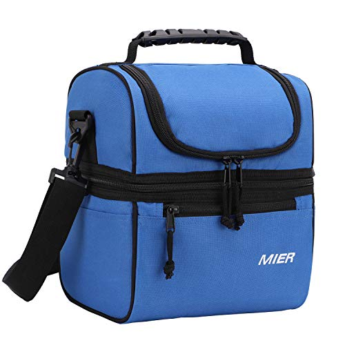 MIER 2 Compartment Lunch Bag for Men Women Kids, Leakproof Insulated Cooler Bag for Work, School, Navy Blue by MIER