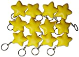 Novel Merk Yellow Star 12-Piece Keychains for Party Favors & School Carnival Prizes