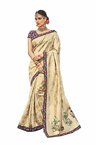 Da Saree Wedding Traditional For Sarees Wear Party Indian 206 Cream Women Designer Facioun 1B6qrwR1S