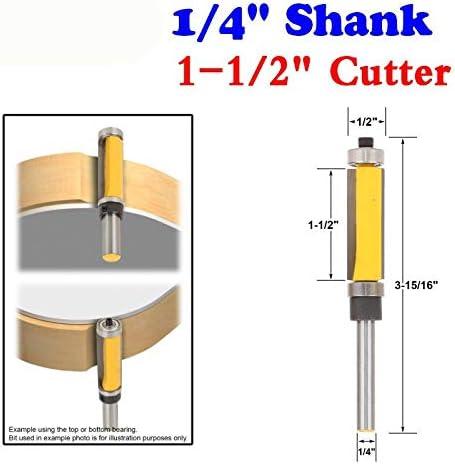 """NO LOGO ZZB-ZT, 1PC 1/4"""" Shank Flush Trim Fräserbit Top & Bottom Bearing - 1-1/2"""" H for die Holzbearbeitung Schneidewerkzeug (Size : 38.1mm)"""
