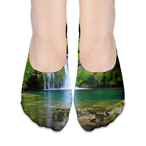 PangYuen Beautiful French Waterfall Women's Polyester Cotton Socks Ladies Boat Socks Deodorant Boat Socks Thin Section Casual Socks Low Breast Socks