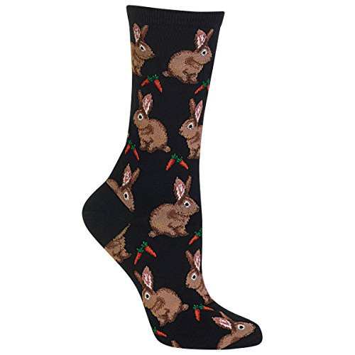 Hot Sox Women's Animal Series Novelty Casual Crew Socks, Bunnies (Black), Shoe Size: 4-10 (Christmas Rabbit The)