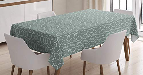 Retro Tablecloth,Medieval Authentic Style Curved Oval Floral Motifs,Liquid Spills Bead Great for Buffet Table,57W X 96.5L Inch Sage Green
