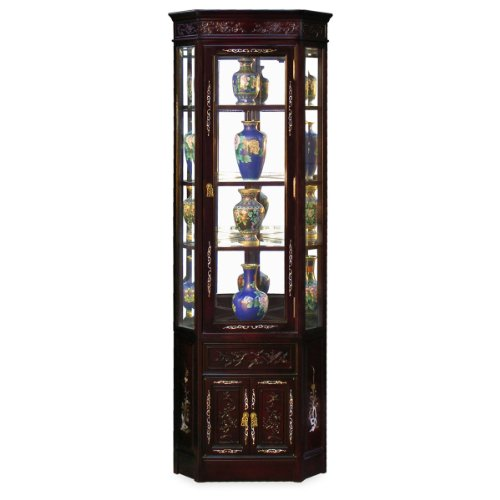 Rosewood Furniture China (China Furniture Online Rosewood China Cabinet, 20 Inches Cherry Blossom Carving Mother Pearl Inlay Corner Display Cabinet Dark Cherry Finish)