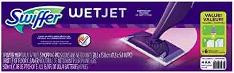 Swiffer WetJet Hardwood and Floor Spray Mop Cleaner Starter Kit, Includes: 1 Power Mop, 5 Pads, Cleaner Solution, Batteries