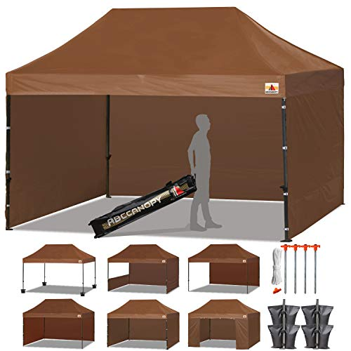- ABCCANOPY 18+ Colors Deluxe 10x15 Pop up Canopy Outdoor Party Tent Commercial Gazebo with Enclosure Walls and Wheeled Carry Bag Bonus 4X Weight Bag and 2X Half Walls (Brown)