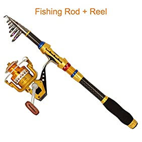 Supertrip Fishing Pole and Reel Combos Portable Carbon Fiber Telescopic Spinning Rod with Metal Aluminum Saltwater Fishing Reels Combos