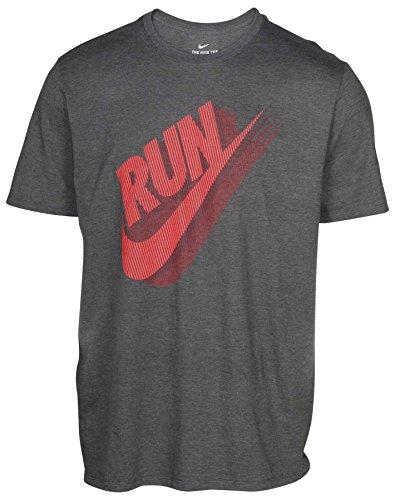 NIKE Men's Run Swoosh Crew Neck Graphic T-Shirt AO2996-071 Charcoal Heather/Crimson (Small) (Tee Graphic Crew)