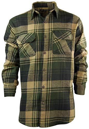 (Men's Classic Plaid Button Down Shirt   Heavyweight Cotton Flannel (Large, Tan))