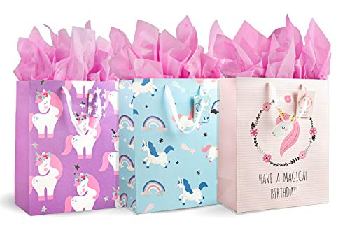 Unicorn Party Gift Bags, Magical Birthday, Matching Gift Tags, Gift Tissue Paper, Large 3-Pack Set, Premium High-Quality, Durable Bags with Satin Ribbon Handles, Perfect for Any Special Occasion