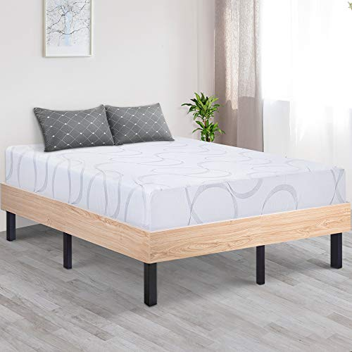 - Ecos Living 14 Inch Wood Platform Bed Frame/Steel Slat Non-Slip Support/Stylish Natural (Queen)