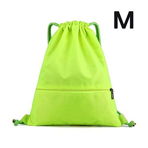 Waterproof Drawstring Backpack Polyester String Bag Gym Folding Sack Athletic Travel Mini Daypack For Men Women Children (Fluorescent Green,M)