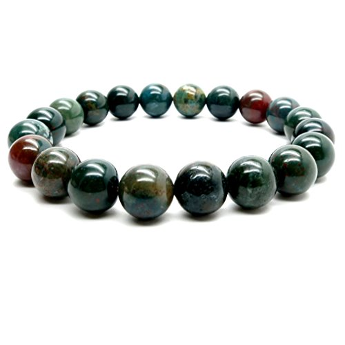 I Dig Crystals Bloodstone Bracelet Boutique Stretch Genuine Green Red Round Gemstone Crystal Healing Energy B02 (7.75, -