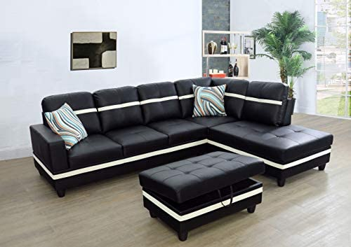 Ainehome Faux Leather 3 Piece Sectional Sofa Couch Set, L-Shaped Modern Sofa with Chaise Storage Ottoman and Pillows for Living Room Furniture, Right Hand Facing Sectional Sofa Set Black White