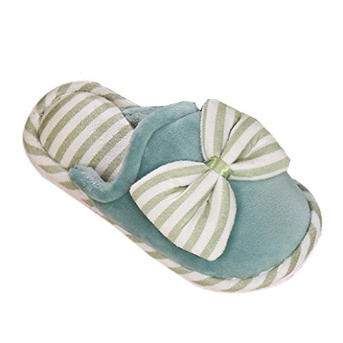 Elevin(TM)Women Winter Warm Home Floor Soft Bowknot Slippers Cotton-padded Shoes Green FcaxkRi