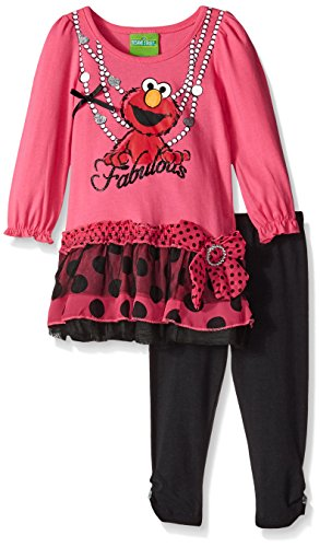 Sesame St Baby Girls' 2pc Pullover and Pant Set, Pink Black, 12 Months
