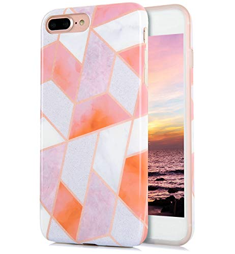 iPhone 8 Plus iPhone 7 Plus Case Cute Floral White Orange Marble Pattern IMD Hybrid Hard TPU Back Cover Shockproof Protective Fun Phone Cases for Women Girls Men ()