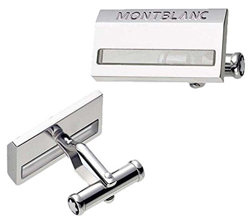 MONTBLANC STERLING SILVER LARGE RECTANGULAR CUFFLINKS QUARTZ GERMANY 38384 - Rectangular Cufflinks