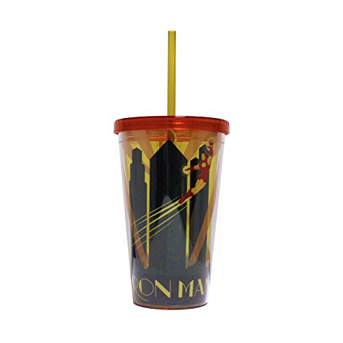 [Silver Buffalo MV07087 Marvel Iron Man Deco Plastic Cold Cup with Lid and Straw, 16-ounces] (Iron Man Armor Suits)