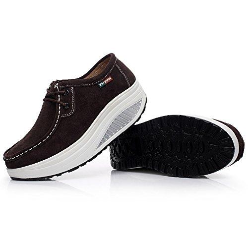 Shenn Women's Fitness Suede Leather Sneaker Brown 88v7KV