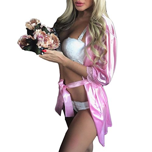 XILALU Women Sexy Long Silk Kimono Dressing Lace Elbow Sleeve Solid Gown Babydoll Lingerie Bath Robe with Belt (One Size, Pink) ()