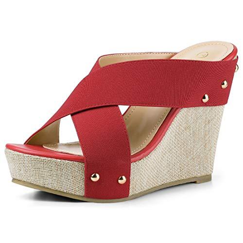 (Allegra K Women's Open Toe Linen Platform Slide Wedge Red Sandals - 10 M US)