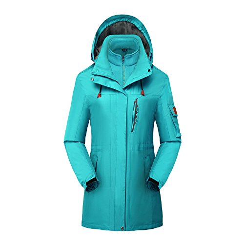Women's 3 in 1 Waterproof Insulated Ski Snowboard Interchange Jackets Rain Coat Skyblue-mid-length US-XS/Tag-L(5.2'/100bl) ()