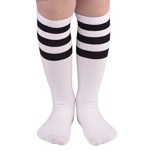 American Trends Kids Uniform Triple Stripes Knee Thigh High Socks Casual Soft Cotton Thicken Long Soccer Sock White Stripes (Seersucker Wide Leg Pants)