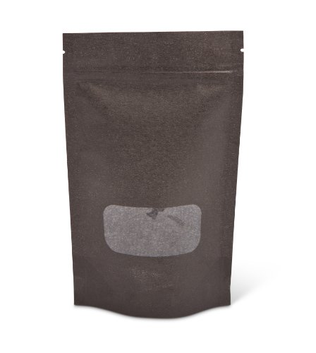 Pacific Bag 430-211BW Stand-Up Pouch, 4 oz, Black Rice Paper with Zipper and Window (Case of 500)