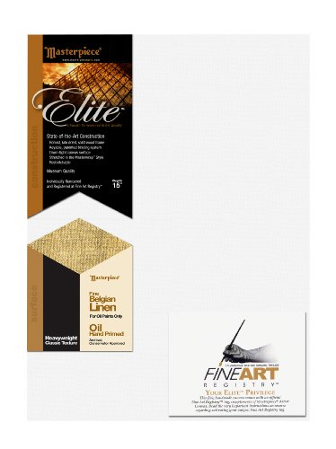 Masterpiece Elite 20-Inch by 20-Inch Artist Canvas, with Heavy Weight Belgian Oil Primed Linen by Masterpiece Artist Canvas