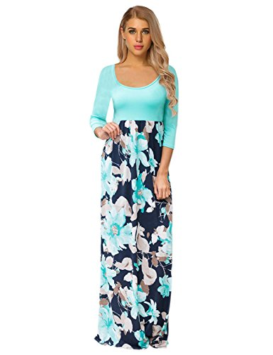 GloryStar Women's Maxi Dress Floral Printed Autumn 3/4 Sleeve Casual Tunic Long Wrap Dress Lake Blue L (3/4 Sleeve Tunic Wrap)
