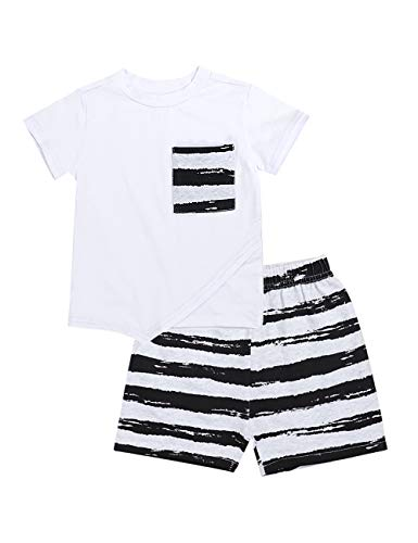 Baby Boys Clothes White Tops Stripe Pocket Short Sleeve Top +Striped Pants Outfit Summer Clothing Set 18-24 Months]()