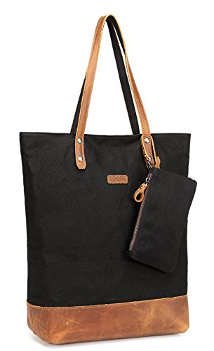 Leather Canvas Tote,Vaschy Water Resistant Vintage Large Shopper Work Tote for ()
