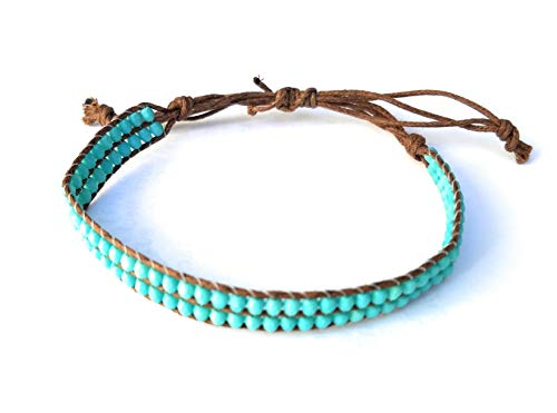 (Boho Beach Anklet Ankle Bracelet - Beaded Drawstring Single Wrap - Double Row Turquoise Color Beads - Adjustable Macrame, 6 to 11 Inches)