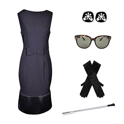 Black Tassel Dress Costume Set, Audrey Hepburn Breakfast at Tiffanys - X-Small