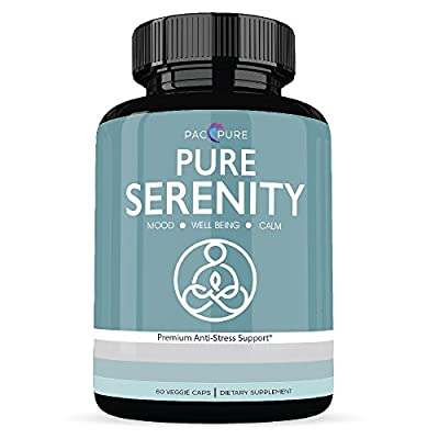 PURE SERENITY Premium Anxiety Relief Supplement, 5 htp, Ashwagandha, St. John's Wort; This Powerful Vegetarian Anti-Stress Formula Helps Keep You Calm, Relaxed & Focused and Supports Positive Mood