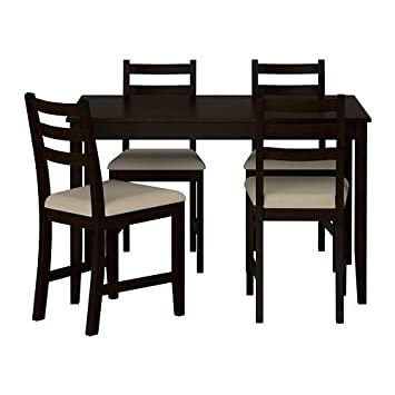 Amazon.com - Ikea Table and 4 Chairs, Black-brown, Vittaryd ...
