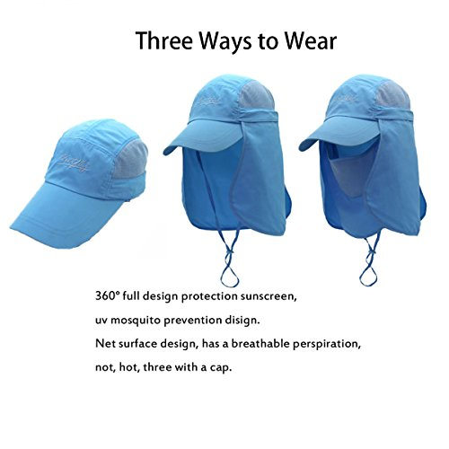 Surblue Quick-drying Outdoor Cap UV Protection Sun Hats Fishing Hat Neck  Face Flap Hat UPF50+. One Size-Khaki 015283f34f49