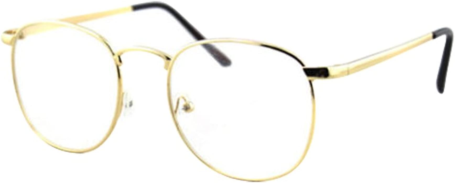 0542aa8a1476 Amazon.com  Gold Vintage Retro Metal Alloy Clear Lens Glasses Spectacles  Designer Nerd Eyeglass  Clothing