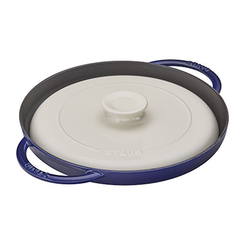 Staub Cast Iron 12-inch Chicken al Mattone Griddle & Press Set - Dark Blue