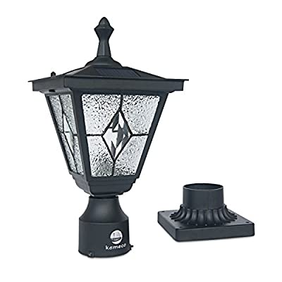Kemeco SP4220Q LED Cast Aluminum Tiffany Glass Solar Post Light Outdoor Fixture with 3-Inch Fitter Base for Garden Post Pole Mount