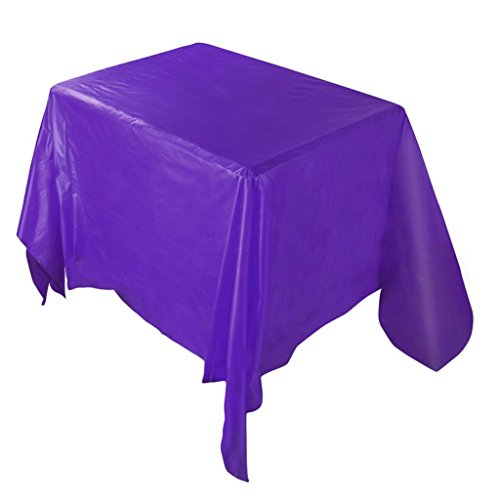 "Solid Color Tablecloths,ZYooh Waterproof Plastic Tablecovers Christmas Home Deco Wedding Restaurant Party 54""X108"" (Purple)"