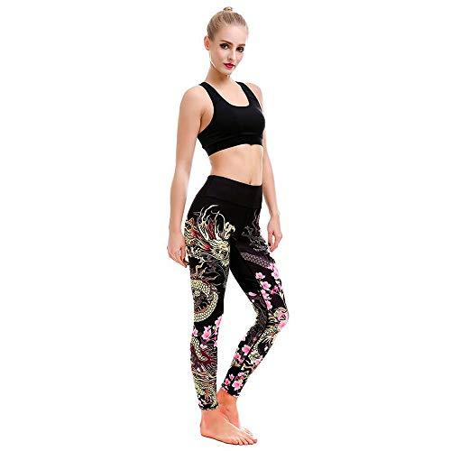 Trouser Women Print Sports Gym Yoga Running Fitness M Black ()