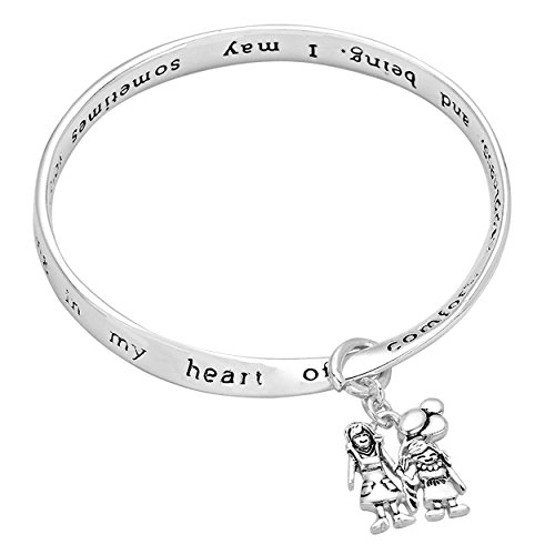 Rosemarie Collections Women's My Mom is a Neverending Song in My Heart Mother Daughter Charm Bangle Bracelet